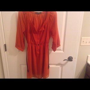 Burnt orange belted blouse dress